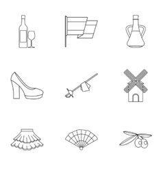 European Spain icons set outline style vector image