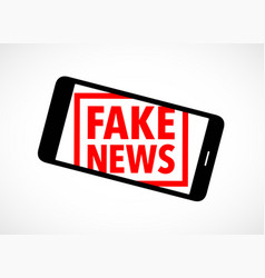 Fake news rubber stamp on a cell phone vector