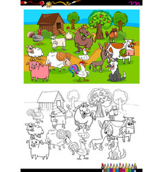 Farm animals characters group color book vector