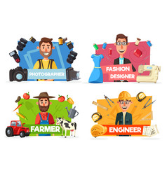 farmer tailor photographer engineer professions vector image