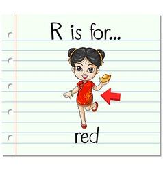 Flashcard letter R is for red vector