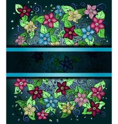 floral invitation card hand drawn retro graphic vector image