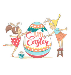 funny greeting happy easter card girls white vector image