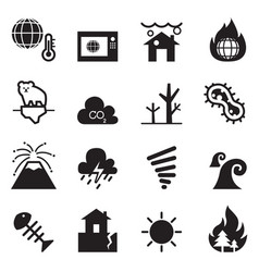 Global warming disaster catastrophe icons set vector