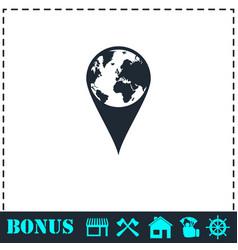 globe pin icon flat vector image