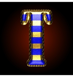 Golden and blue letter t vector