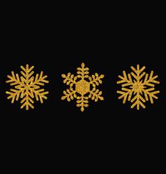 golden snowflakes christmas design vector image
