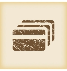 Grungy credit card icon vector