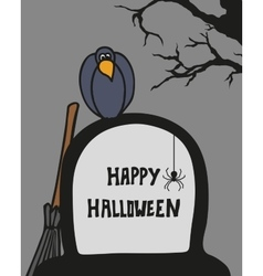 Halloween card with cemetery grave and crow vector image