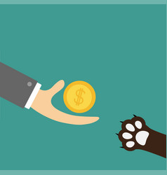 hand giving golden coin money with dollar sign vector image