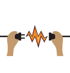 Hands hold a wire plug and socket Connection Icon vector image