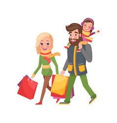 happy family mother father daughter xmas shopping vector image