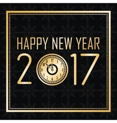 happy new year 2017 greeting card gold clock frame vector image