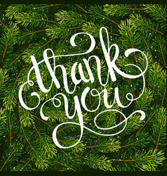 holiday gift card with hand lettering thank you on vector image