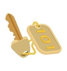 Hotel key cartoon icon vector image