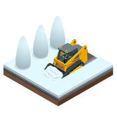 isometric compact excavators orange steer loader vector image