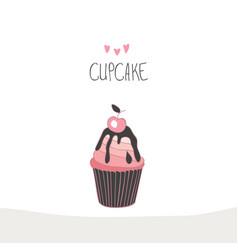 lovely beautiful yummy cartoon cupcake vector image