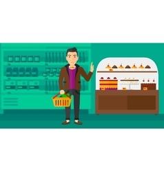 Man holding supermarket basket vector