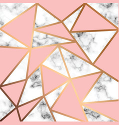 Marble texture design with golden geometric lines vector