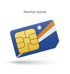 Marshall Islands mobile phone sim card with flag vector