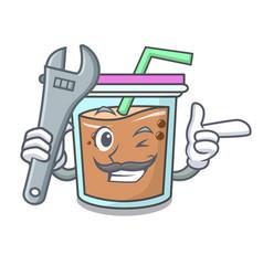 Mechanic bubble tea mascot cartoon vector