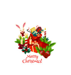 merry christmas wish gifts greeting icon vector image