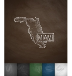 Miami Map icon Hand drawn vector