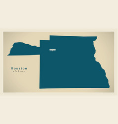 Modern map - houston alabama county usa vector