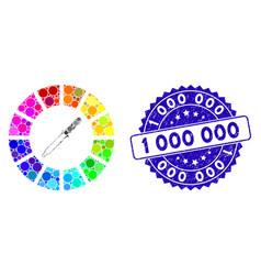 Mosaic color wheel icon with distress 1 000 000 vector