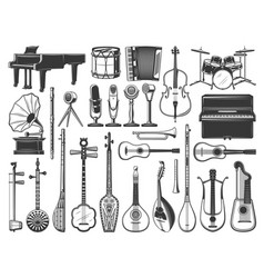 music instruments icons drum violin and guitar vector image