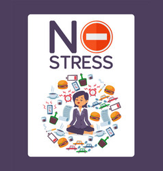 No stress typographic poster for office vector
