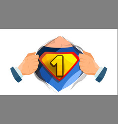 number one sign superhero open shirt with vector image