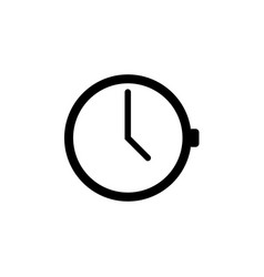 outline line clock on white background clock icon vector image