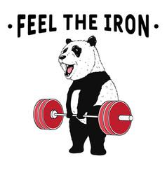 Panda weightlifter vector