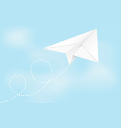 paper airplane folded glider in blue sky vector image