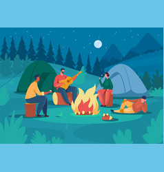 people camping at night friends sitting near vector image