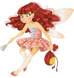 Pretty red haired tooth fairy in pink vector