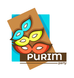 purim party isolated icon jewish holiday vector image