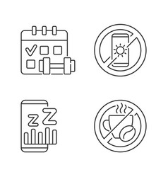 Recommendations to prevent insomnia linear icons vector
