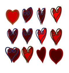 red and burgundy heart set vector image