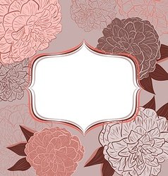 Retro Pink Floral Invitation Card vector image