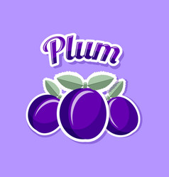 Retro plum with title on pale lilac background vector