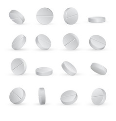 Round white medical pills in different positions vector