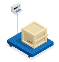 Scales for weighing heavy objects and goods box vector