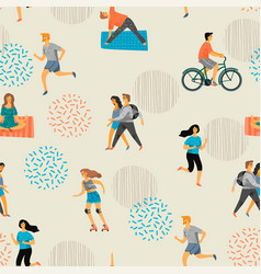seamless pattern with active young people vector image