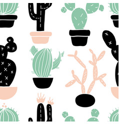 Seamless pattern with cute hand drawn cactus vector