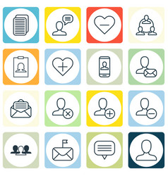 set of 16 social icons includes significant vector image