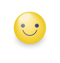 slightly cartoon smiling yellow face vector image