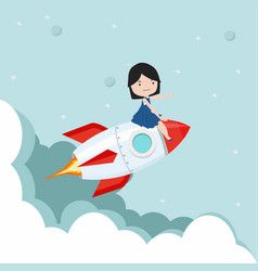 small girl sitting on on a flying rocket vector image
