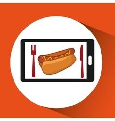 Smartphone order fast food online vector